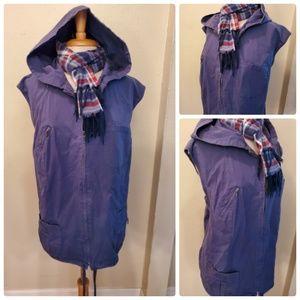 Avenue Washed Ripstop Vest Blue Zip Up